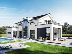 Design Concept-M 154 Hannover with an external h . - Design Concept-M 154 Hannover with the appearance of Bien-Zenker - Dream House Exterior, Dream House Plans, Bungalow House Design, Modern House Design, Living Haus, Balcony Design, Facade Design, Exterior Design, Facade House