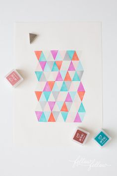 triangles stamps DIY rubber stamps geometric simple pattern DIY art