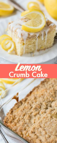 Lemon Crumb Cake - this breakfast cake is tender with the perfect amount of fresh lemon flavor! We love the crumb topping, it has lemon zest in it!