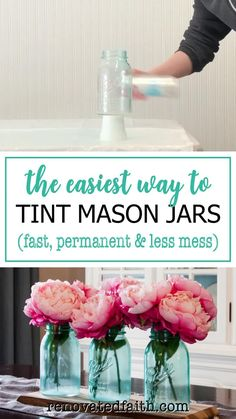Forget painting mason jars with Elmer's glue or mod podge! This is the easiest way to tint glassware or lanterns any color without messy food coloring & they are waterproof! Tinting mason jars blue is just part of this easy DIY tutorial as it shows how to make the lids look vintage & rustic with paint. Make centerpieces with pink peonies or containers for Christmas gifts. You can also make pink painted mason jars for baby showers! Tinted Mason Jars, Tinting Mason Jars Diy, Painting Mason Jars, Spray Paint Mason Jars, Frosted Mason Jars, Painting Glass Jars, Pink Mason Jars, Colored Mason Jars, Diy Spray Paint