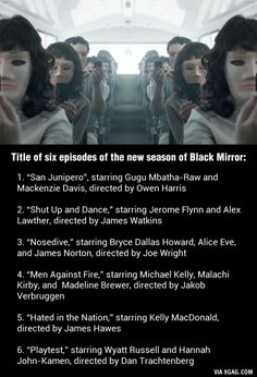 New season of Black Mirror on Oct 21, can't wait!