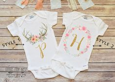 Floral personalized mint bodysuit onesie baby onesie and monograms personalized baby gift boho name shirt negle Images