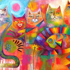 nice colors---Cats & Fish  Karin Zeller