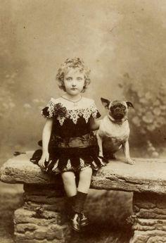 Little Penny Dreadful, antique-royals: Princess Louise of Orleans . Pug Photos, Photos With Dog, Pug Pictures, Vintage Children, Vintage Photographs, Vintage Images, Deviant Art, Princess Louise, Black And White