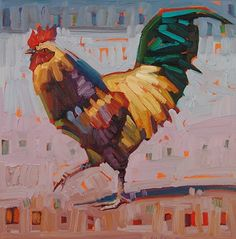 """""""Struttin,"""" by René Wiley by Rene' Wiley Gallery Oil ~ 12 x 12 Wildlife Paintings, Wildlife Art, Animal Paintings, Evans Art, Chicken Art, Bird Artwork, Chickens And Roosters, Galo, Wow Art"""