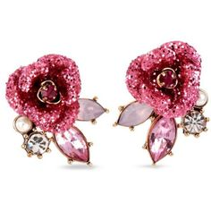 Betsey Johnson Pink Glitter Rose Mismatch Stud Earring ($30) ❤ liked on Polyvore featuring jewelry, earrings, pink, pink earrings, glitter jewelry, glitter stud earrings, rose earrings and polish jewelry