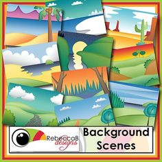 Background Scenes contains 10 colored and 10 black and white background scenes for your products.  Simply place your text and clip art over the background scene to create outstanding product covers, posters and other teaching resources.  This pack also includes 5 edge frames to highlight your product even further.