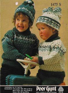 Lykkeliten 1475 S Knitting For Kids, Baby Knitting, Fair Isle Knitting, Vintage Knitting, Baby Boy Outfits, Kids Fashion, Winter Hats, Crochet Hats, Retro
