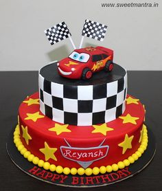 Disney Pixar Cars Lightning McQueen theme customized 2 layer designer fondant cake with edible 3D Mcqueen, race flags for boy's birthday at Pune