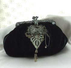 Formal velvet Clutch, 1920s black opera bag, vintage rhinestone bejeweled handbag,