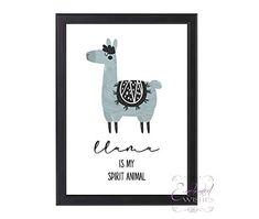 Llama Spirit Animal Print, Llama Quote Wall Art, Unframed Nursery Prints, Nursery Wall Art, Wall Art Quotes, Quote Wall, Quote Prints, Wall Art Prints, Llama Arts, Llama Print, Personalised Prints