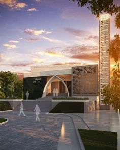 masjid modern - Google Search Mosque Architecture, Religious Architecture, Landscape Architecture, Building Facade, Building Design, Beautiful Mosques, Modern Architects, Around The Worlds, Exterior
