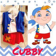 Cubby- no sew costume for Jake and the neverland pirates birthday!