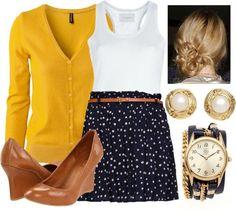yellow cardigan, polka dot skirt, nude heels, pearls, gold
