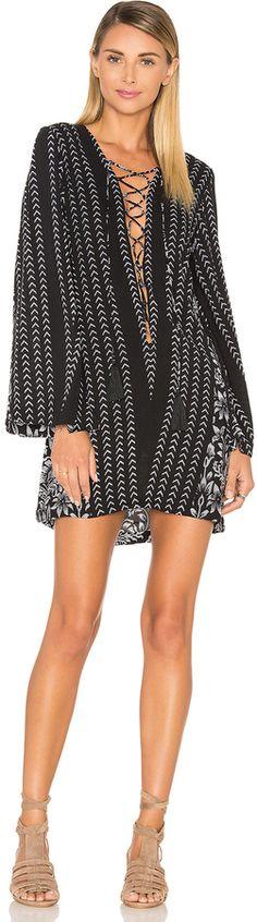 Indah Flame Long Sleeve Lace Up Dress