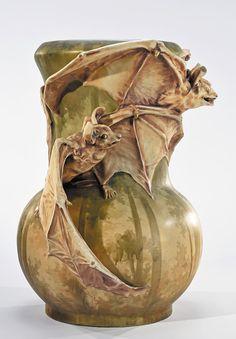 "The house can always use another Bat knick-knack... Amphora Bat Vase |  Bohemia |  c.1900 | 22"""