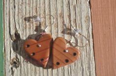 Redwood heart earings.