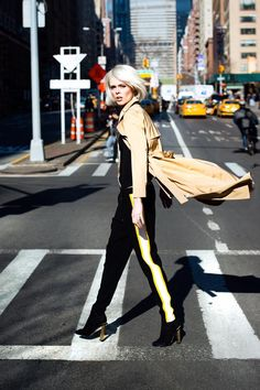 Coco Rocha wearing Judith and Charles from Rockland at NYFW.
