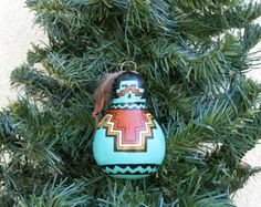 Southwestern Hand-painted Bottle Gourd Christmas Ornament