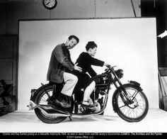 Behind the scenes of one of my favourite ads!  Chares and Ray Eames posing on a Velocette motorcycle, 1948 via First Run Features