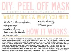 Enjoy this little beauty card for a wonderful DIY peel off face mask to get rid of those blackheads and help your skin! You can even see the blackheads on the mask once you take it off..yuck!
