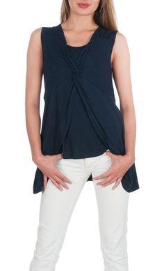 ebb875e0b87 Maternity Nursing/Breastfeeding Twisted Top (Medium, Navy) at Amazon Women's  Clothing store: