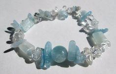 "Natural Aquamarine Quartz Crystal Round and Nugget Healing Stretchy Bracelet 7"" #Handmade #Beaded"