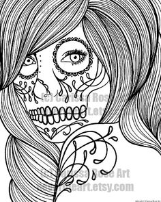 Digital Download Print Your Own Coloring Book Outline Page - Day of the Dead Woman by Carissa Rose