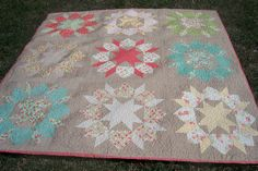 Strawberry Swoon by Sleepy Time Quilts, luv the grey background with light, bright blocks