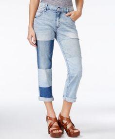 f433ce59392 Jessica Simpson Monroe Medium Blue Wash Patched Boyfriend Jeans Cuffed  Jeans