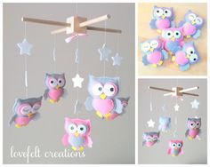 Baby mobile Owl mobile Baby Girl Mobile Nursery by LoveFeltXoXo Owl Mobile, Baby Crib Mobile, Baby Cribs, Baby Mobiles, Felt Crafts, Diy And Crafts, Owl Nursery, Baby Kind, Baby Boy Shower