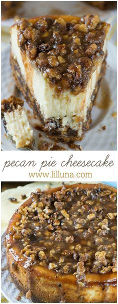 If you love Pecan Pie, you'll love this Cheesecake! This cake has vanilla wafers crust, pecan pie filling, creamy cheesecake layer and buttery, caramel-pecan topping. Cake The ULTIMATE Pecan Pie Cheesecake Recipe Holiday Desserts, Holiday Recipes, Party Desserts, Winter Desserts, Christmas Recipes, Christmas Side Dishes, Christmas Dinners, Holiday Pies, Fall Dinner Recipes