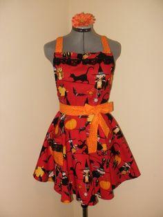 Retro Style Apron.. Vintage Flounce.. Black Cats, Black Lace and Tossed Pumpkins.. Alexander Henry