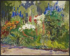 This Easter long weekend, The Globe and Mail reflects on J. MacDonald's painting Flower Border, Usher Farm, York Mills, completed during the First World War Group Of Seven Paintings, Easter Long Weekend, Art Gallery Of Ontario, Blue Delphinium, Canadian Artists, Canadian Painters, National Art, Day Lilies, French Artists