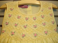 New boutique design hand embroidered smocked by CiaoBebeBoutique Smocking Patterns, Smocking Plates, Dress Patterns, Sewing Patterns, Baby Embroidery, Crochet Wool, Yellow Fabric, Smocked Dresses, Baby Dresses