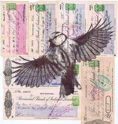 Mark Powell's Incredibly Detailed Biro Drawings Of Birds On Vintage Documents