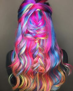 Obsessed with my model& hair for neon hair battle Bright Hair Colors, Hair Colours, Rainbow Colors, Multicolored Hair, Colorful Hair, Dying Your Hair, Neon Hair, Coloured Hair, Mermaid Hair