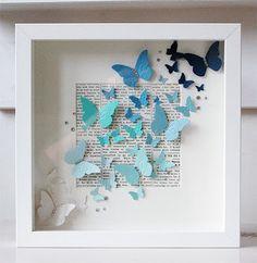 ideas for diy paper butterflies wall shadow box Butterfly Wall Art, Paper Butterflies, Paper Flowers, Paper Butterfly Crafts, Butterfly Gifts, Diy Paper, Paper Crafting, Paper Art, Art Mural Papillon