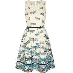 Uttam Boutique Dragonfly Print Day Dress featuring polyvore women's fashion clothing dresses blue clearance blue midi dress sleeveless dress blue cotton dress white midi dress cream dress