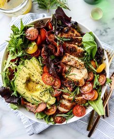 "21.4k Likes, 177 Comments - feedfeed, by Julie Resnick (@thefeedfeed) on Instagram: ""What should you make for dinner? A dinner salad! This Rosemary Chicken, Bacon, Avocado & Tomato…"""