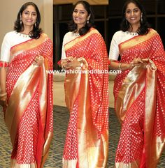 Anchor Jhansi in Red Banaras Saree with off white kasu embellished blouse paired at Launch of Techno Protect and Exterior Emulsion Sleeves Designs For Dresses, Sleeve Designs, Blouse Designs, Banaras Sarees, India Images, Inspirational Celebrities, Beautiful Saree, Saree Wedding, Indian Wear