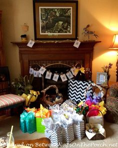 Decorating Ideas, Games & Party Favors for a Festive Bee-Themed Party. This is my party, held in May 2015. Here are the gifts spread out.