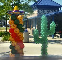 Fiesta, cactus, balloon decorations by makinmemories4u.com Mexican Wedding Decorations, Balloon Decorations, Birthday Party Decorations, Mexican Birthday Parties, Mexican Party, Rodeo Party, Fiesta Theme Party, Western Parties, Balloons