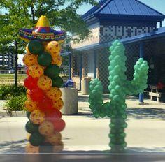 Fiesta, cactus, balloon decorations by makinmemories4u.com