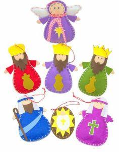 Holy Family Three Kings Angel Nativity of Christ 7 Piece Felt Christmas Ornament | eBay