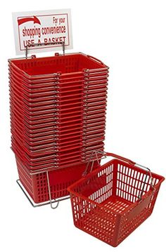 Red Shopping Basket Set (24 Baskets with Stand and Sign) *** Check this awesome product by going to the link at the image.
