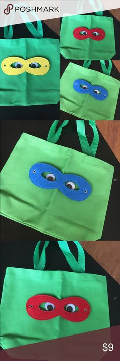 Ninja Turtle Totes These canvas totes are more geared toward the boys costumes 👍🏼 Ninja Turtle Totes are great as trick or treat bags or for party favors! I can also make other super hero themed bags with the masks or using their specific stencils. Batman, superman, Captain America, Deadpool, let me know if you have a custom request! Bags Totes