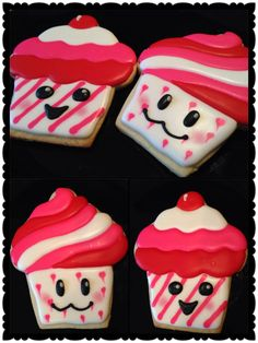 Made these Kawaii faces Cupcake Sugar Cookies..These are my favorite out of all 4 styles I made :D