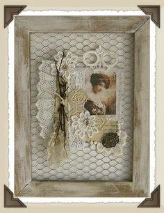 Collage on Framed Chicken Wire