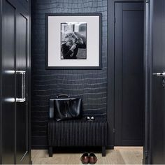 Doing a dark monochromatic space requires multiple layers of texture. by Holt Design Group Look Wallpaper, Interior Wallpaper, Luxury Wallpaper, Room Interior, Interior Design Living Room, Living Room Wallpaper Texture, Wallpaper Designs For Walls, Wallpaper Display, Designer Wallpaper